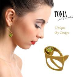 Colour Stone Earings And Rings By Tonia Jewellery